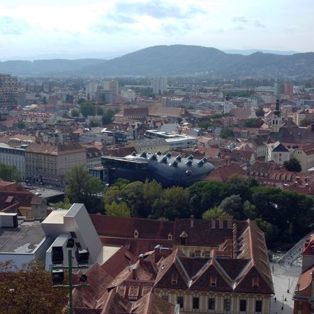 Arquitecture Graz Austria Rooftops Roof City Landscape Friendly Alien