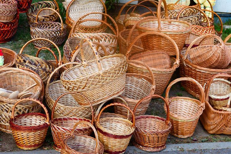 Full frame shot of wicker basket for sale in market