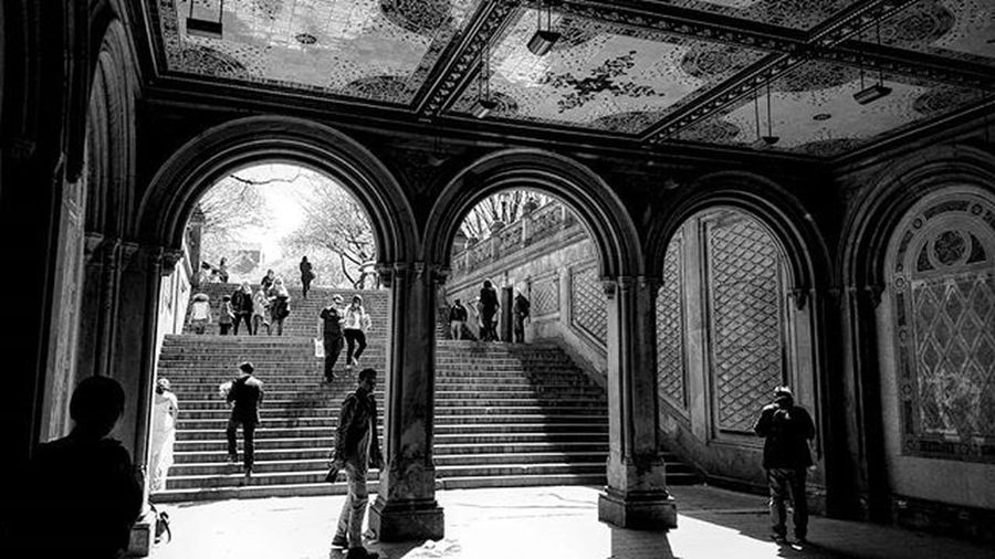 Photo by @epok_artography Bethesda Terrace Arcade in Central Park created 1864. . The highlight of the arcade is the magnificent Minton Tile ceiling designed by British-born architect and designer, Jacob Wrey Mould, who also conceived of the decorative carvings throughout the Terrace NYC Newyork Blackandwhite Nyphotography CentralPark Bethesdaterrace Arcade Nylandmark Blancetnoir Photography Lightvsshadow Photography