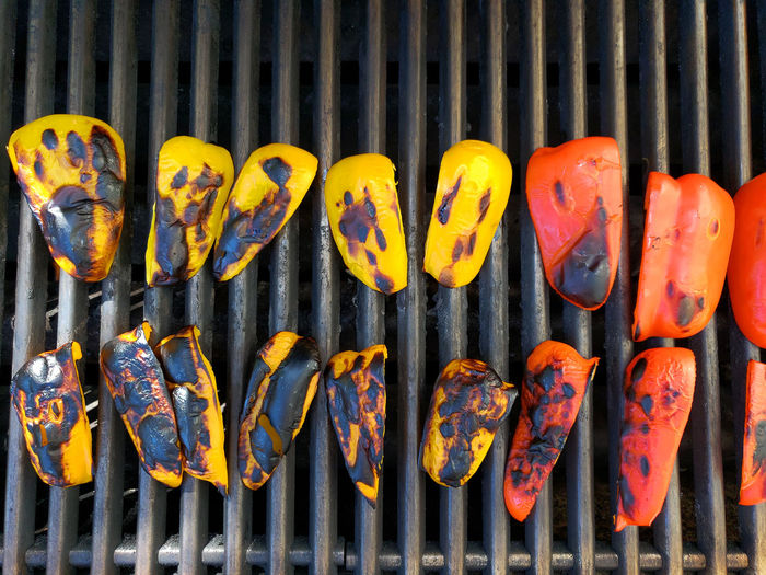 Close-up of pumpkins on barbecue grill