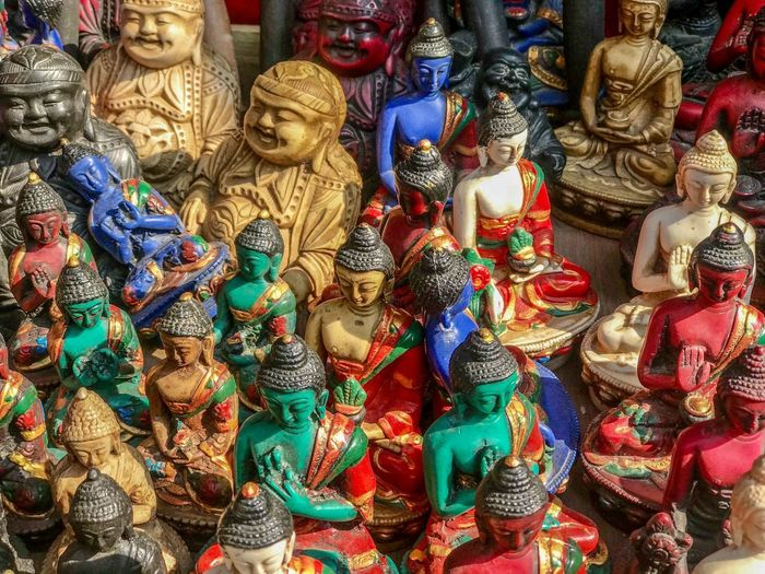 Shops in Thamel, Kathmandu Nepal Art And Craft Large Group Of Objects Market Multi Colored Religion Retail  Sculpture Spirituality Statue
