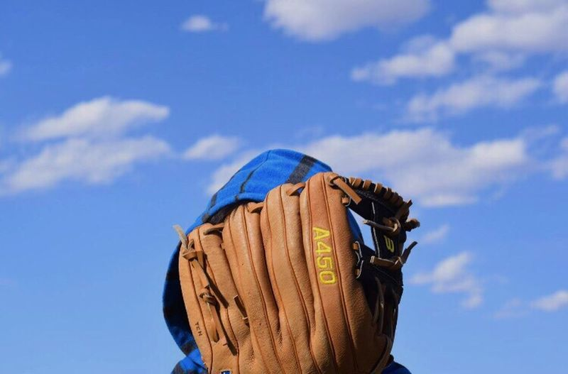 He didn't want to show his face 👤 Showcase: April Nephew  Children Photography Baseball Blue Sky And Clouds Blue Wave