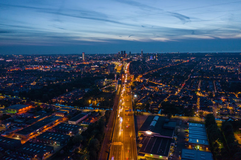 Cityscape aerial view. city lights