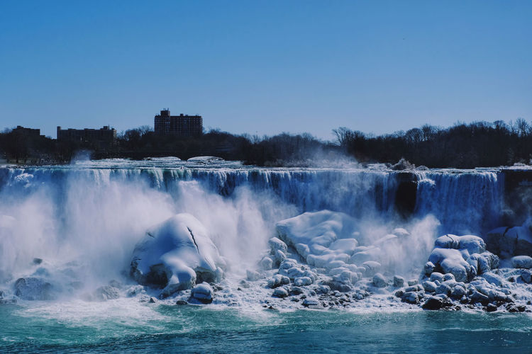 Panoramic view of waterfall against clear sky