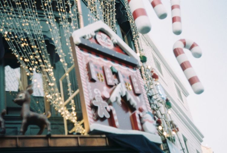 Low angle view of decoration hanging outdoors