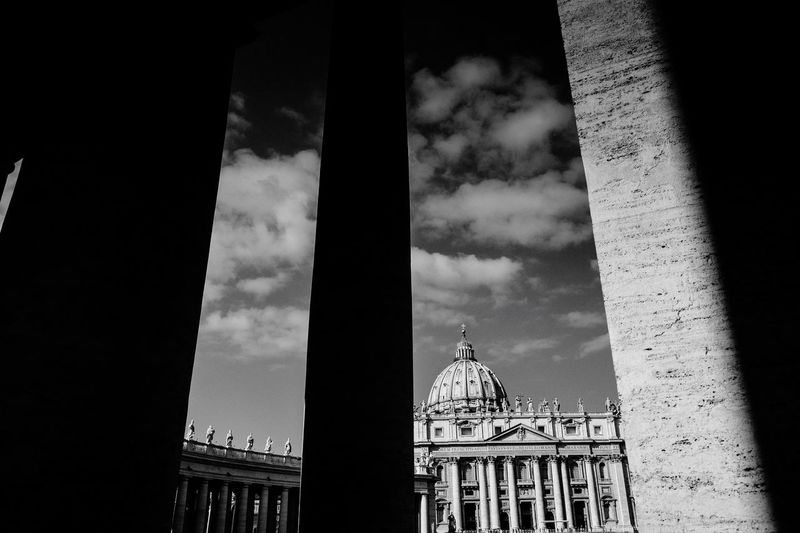 Light And Shadow Blackandwhite VaticanCity Architecture Built Structure Building Exterior Architectural Column Government Dome Flag Day Low Angle View Travel Destinations No People Sky Politics City Outdoors