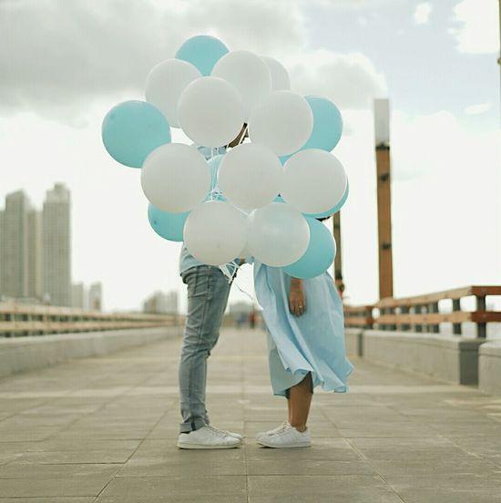 Baloon Love Kiss Couple Cloud - Sky Seaside Pier Bridge White Shoes Engagement