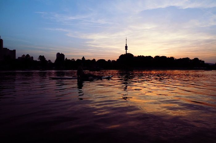 My Favorite Place Water Building Exterior Architecture Built Structure Sunset Waterfront Silhouette Sky City River Tranquility Cloud Tranquil Scene Reflection Cloud - Sky Urban Skyline Tower Austria Vienna Summer AlteDonau Donau Danube River Danube Sommergefühle