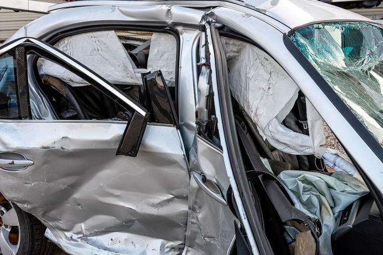 High angle view of broken car mirror