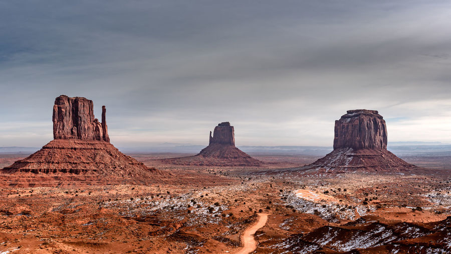 Scenic view of canyon against sky