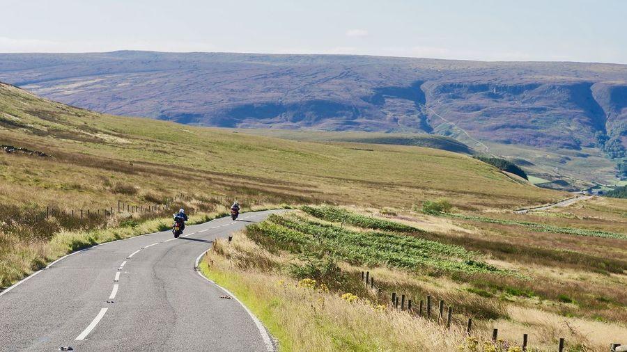 August Bank Holiday Freedom Road Stunning Scenery Heather Landscape Motorbikes Peak District  Purple Winding Road