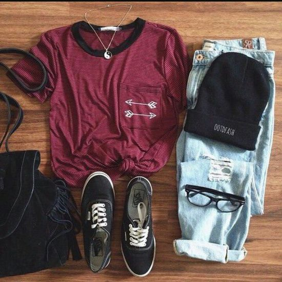 Multi Colored Black Red Lifestyles Day Indoors  Outfit No People Hat Love Close-up Glasses T Shirt Jeans Bag Schoes Lfl Like4like Likeforlike Likemyphoto Ilikethis Floor Necklace EyeEm
