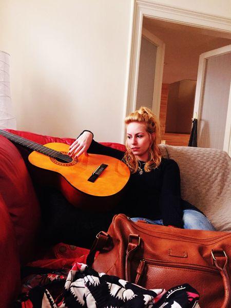 Guitar Music Livingroom Redsofa Audrey Portrait Home Interior Blonde Europian Girl Hungariangirl Budapest Hungary