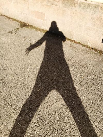 Shadow of person on street during sunny day