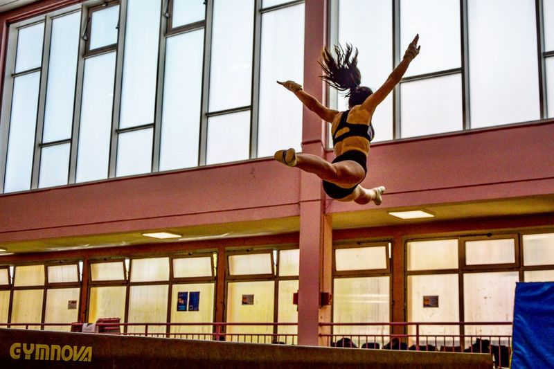 Teach me how to fly Fly Jump Gymnast  Gymnastics Athlete Beam Architecture Metal