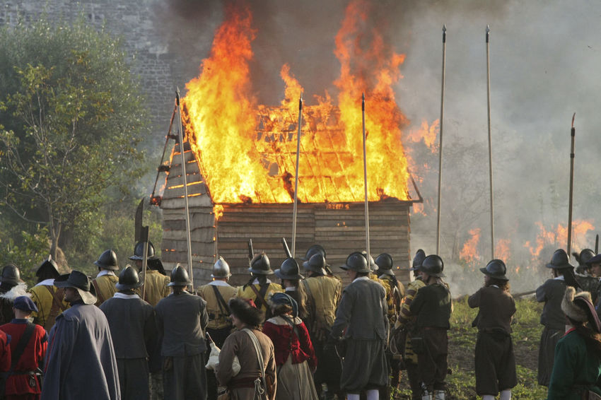 Battle Battlefield Burning Destruction Flame Historical Reconstruction History Large Group Of People Leisure Activity Old Weapon Old Weapons Outdoors People Real People Reconstruction Group Riot Soldiers Ukraine Vintage XVII Century