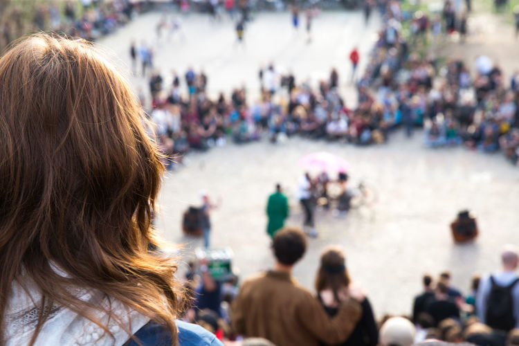 City City Life Crowd Day Focus On Foreground Group Of People Large Group Of People Leisure Activity Lifestyles Mauerpark Outdoors Park Person Rear View Woman
