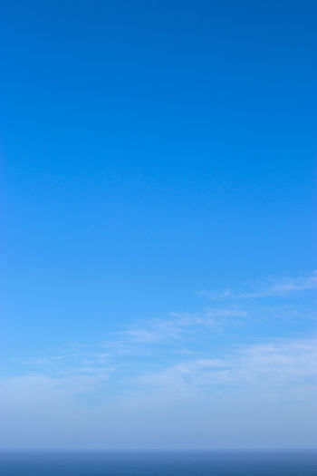 Low angle view of sea against blue sky
