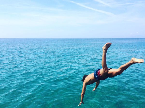 Italy Enjoying Life Water Sea Jump Horizon Over Water Blue Nature Tranquility Summer Beauty In Nature