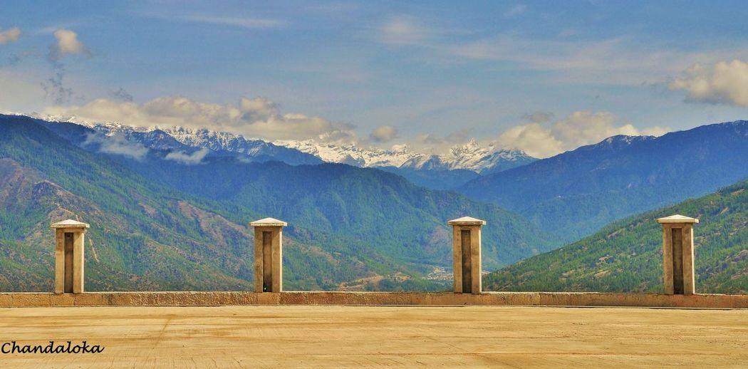 The beauty of nature. Nature Mountain Sky Tree No People Mountain Range Landscape Pillars, In Bhutan