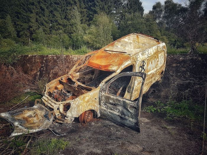 Lostplaces Abandoned Places Urbexexplorer Urbexphotography Burned Car Luxembourg Travel Photography Outdoors No People