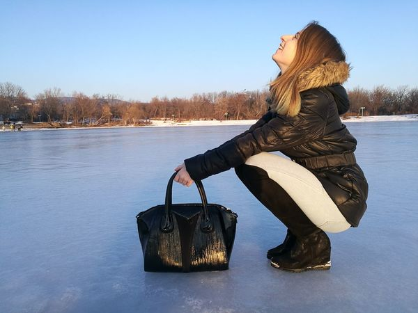 One Woman Only Only Women Winter One Person Snow One Young Woman Only Cold Temperature Adults Only People Smiling Warm Clothing Beauty In Nature Adult Outdoors Young Adult Day Ice Lake Ice Skating EyeEm Best Shots EyeEmNewHere