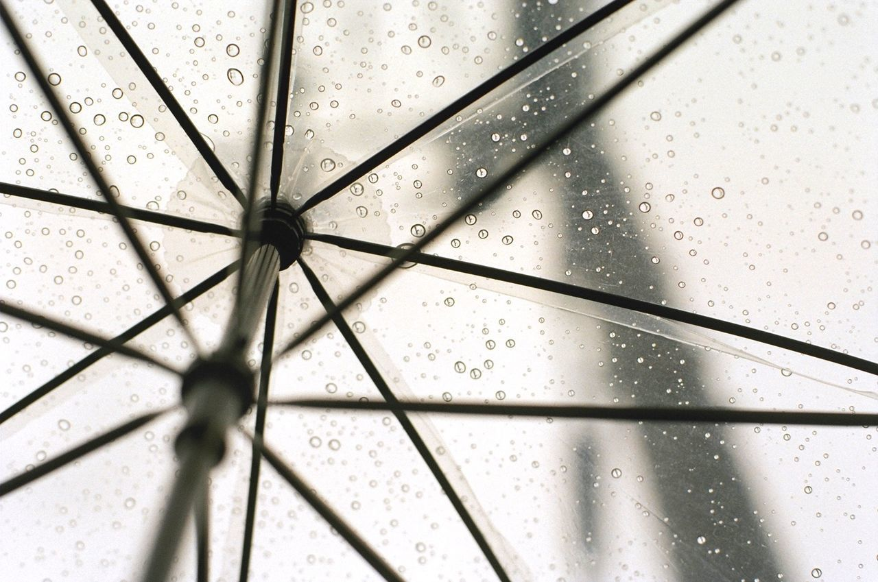 Cropped shot of umbrella with rain drops