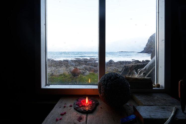 View of people looking through window