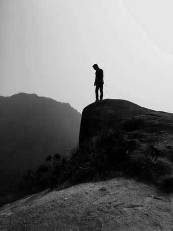 One Person Real People Leisure Activity Full Length Outdoors Day Nature Landscape Clear Sky Standing Mountain Men Beauty In Nature My Younger Brother Chinese New Year Eve 2017 Blackandwhite Black & White