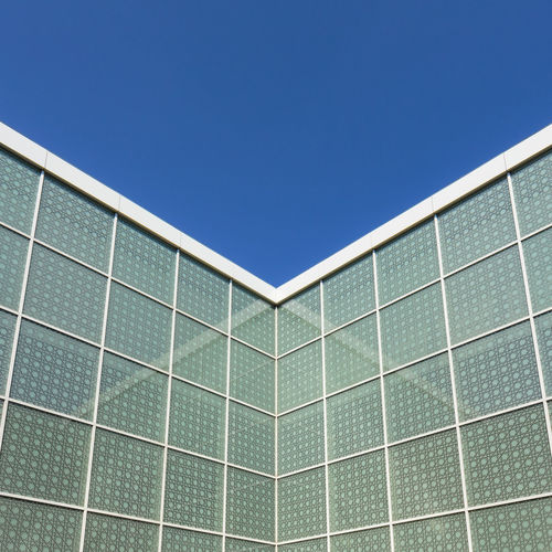 Architectural detail in the courtyard of the Aga Khan Museum, North York, Toronto, Ontario, Canada Architecture Canadian Ontario Toronto York Aga Architecture Art Blue Building Built Structure Canada Clear Sky Close-up Courtyard  Day Detail Geometry Khan Landmark Museum No People North Outdoors Sky