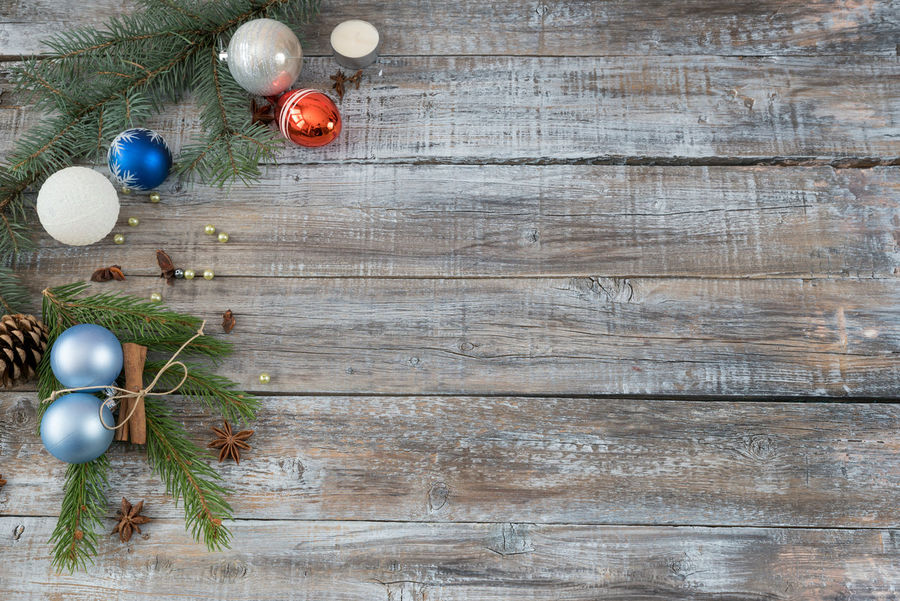 Xmas or New Year background holiday plain composition made of Christmas decorations on a wooden background, top view with copy space Branch Christmas Christmas Decoration Christmas Ornament Indoors  No People Plank Red Sparse Tree Wood - Material