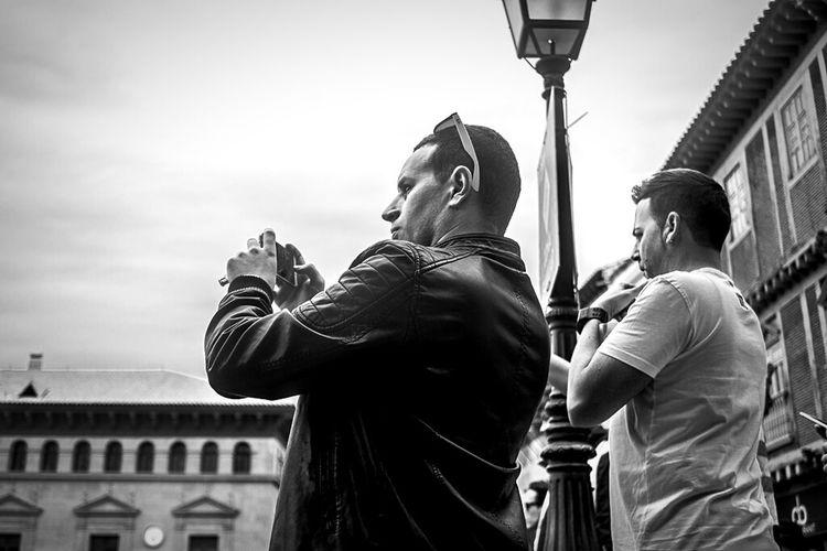 Blackandwhite Monochrome_life People Monochrome Taking Photos Of People Taking Photos