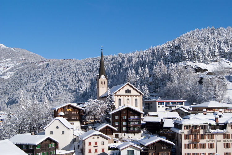 Fiesch in winter Alps Architecture Church Clear Sky Cold Temperature Dorf Fiesch Forest Goms House Mountain Nature Outdoors Scenics Snow Snowdrift Switzerland Tree Village Village View Wallis Weather White Color Winter Winterday