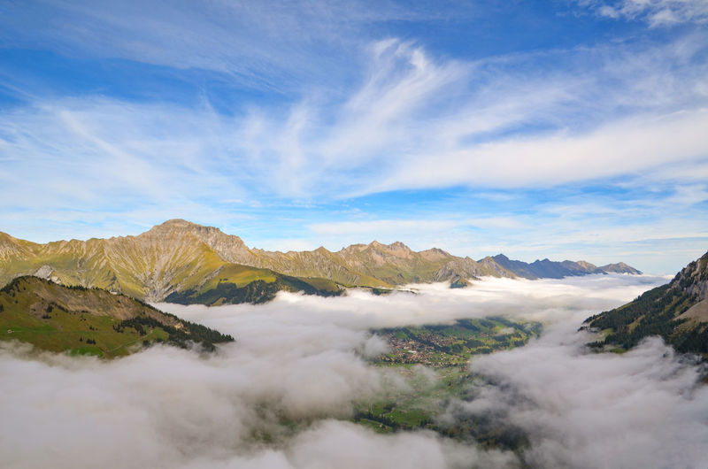 Scenic view of mist against sky