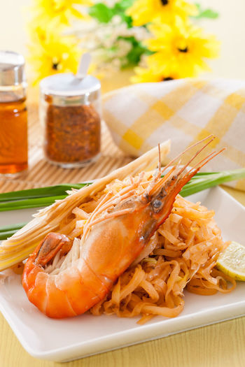 Close-up of seafood in plate on table