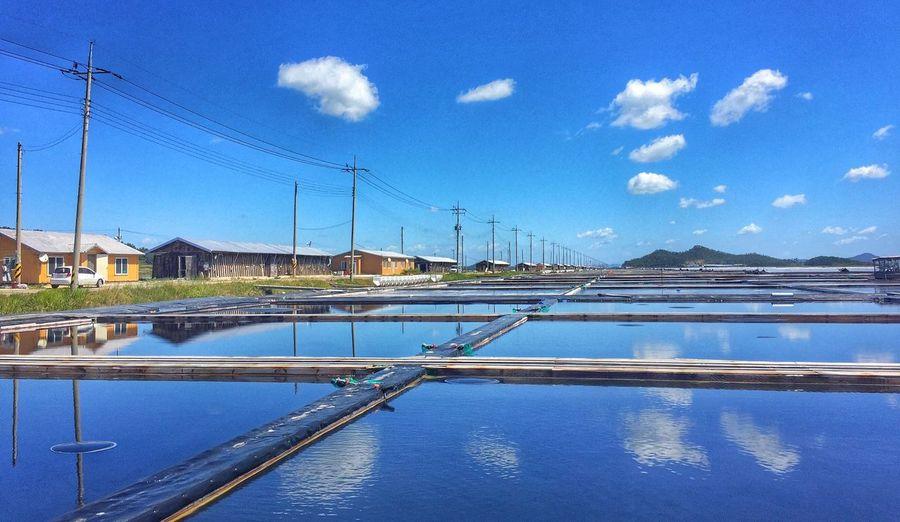 Blue Water Reflection Salt Field Sinan