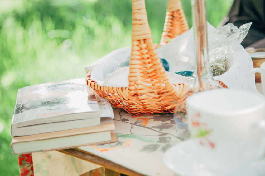 books on the table outdoors Books Picnic Bascket Food Food And Drink Freshness Nature Outdoor Meal Picnic Table Picnic Time ♡ Still Life Table