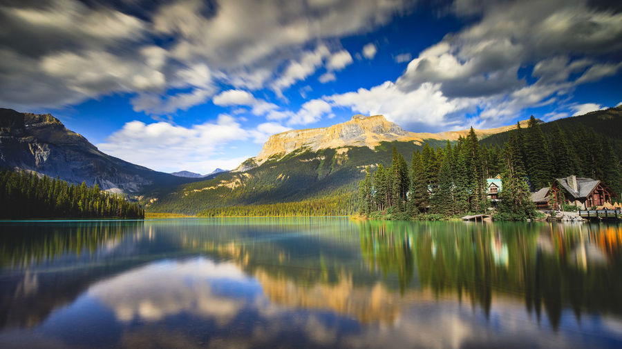 Long exposure of emerald lake lodge on summer evening