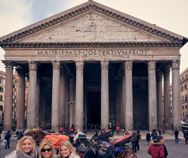 Pantheon Group Of People Architecture Crowd Real People Built Structure Architectural Column Large Group Of People Travel Destinations Building Exterior Tourism Lifestyles Travel Leisure Activity Women Men The Past Adult History Sky
