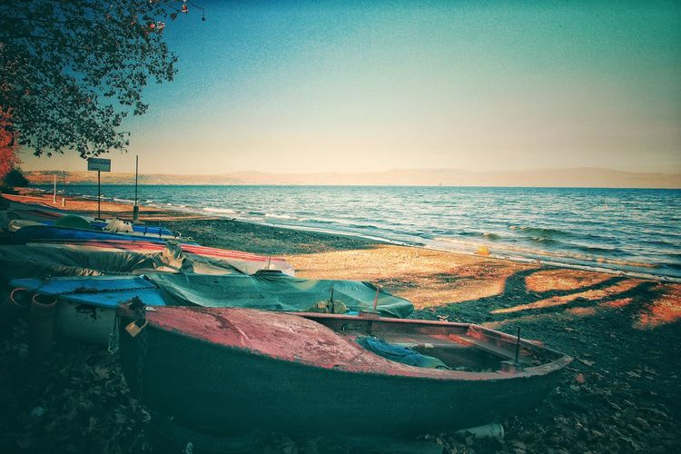 Love Lake Beach Beauty In Nature Boats Clear Sky Copy Space Horizon Horizon Over Water Lake Land Mode Of Transportation Nature Nautical Vessel No People Outdoors Scenics - Nature Sea Sky Sunset Tranquil Scene Tranquility Transportation Water