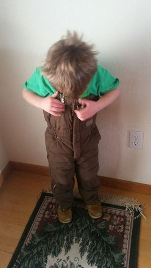 Unbuttoning Missouri Ozarks United States Toddler Boy Family❤ Warm Clothing Brown Coveralls Wood Home Interior