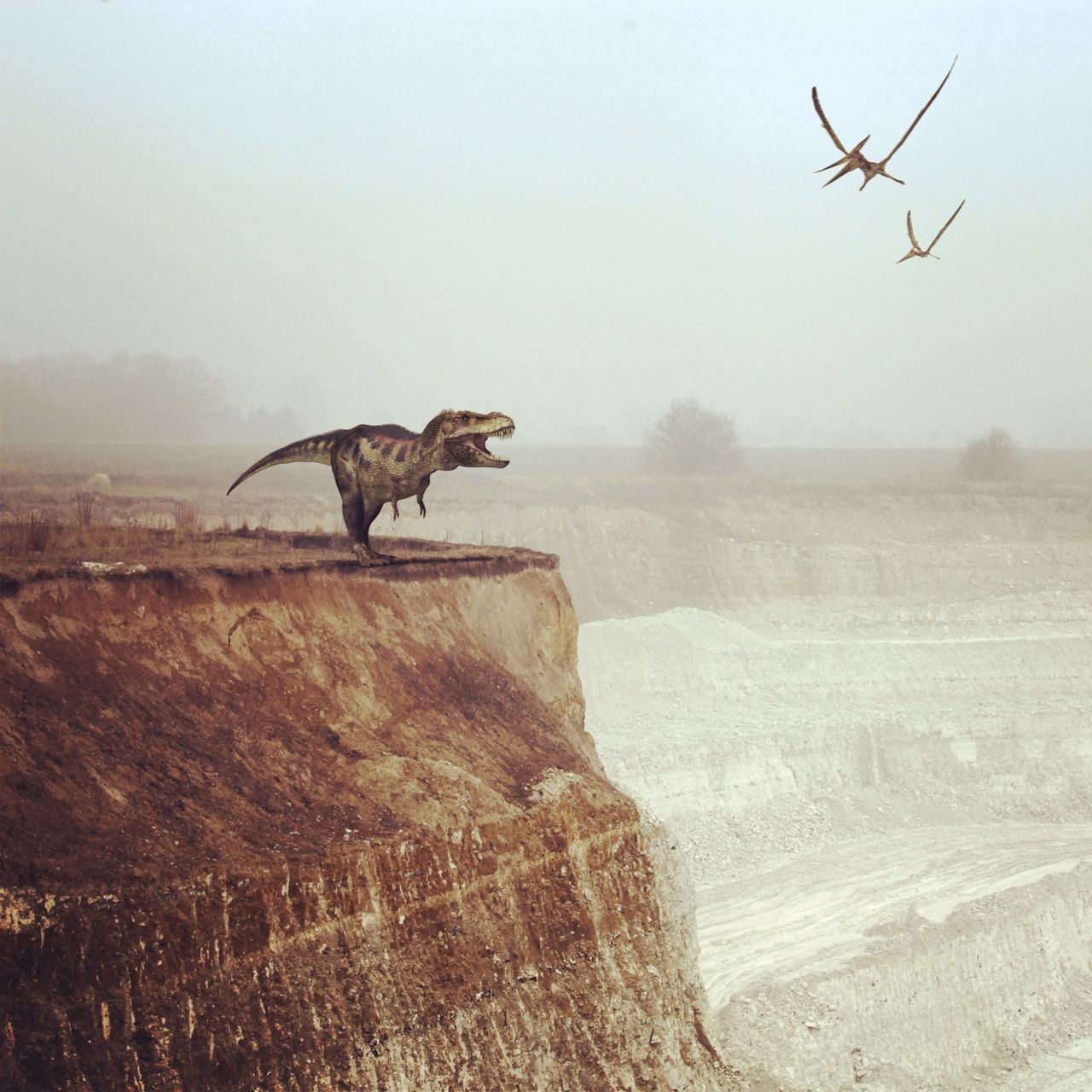 Digital composite of dinosaur and birds over rocky landscape