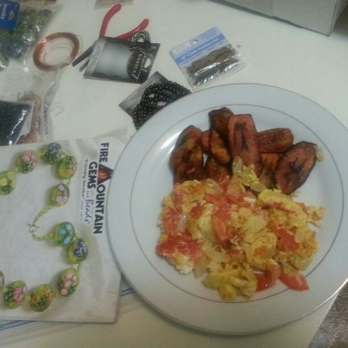 Dinner and Beads making.. Scrumptious . Omelets egg plantains Nom nom nom