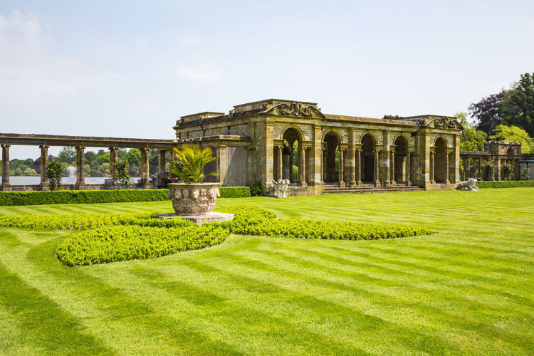 The Loggia, Hever Castle & Gardens, Hever, Edenbridge, Kent, England, United Kingdom Ancient Civilization Architectural Column Architecture Built Structure Clear Sky Day Grass Green Color History Monument Nature No People Outdoors Sky Travel Destinations Tree