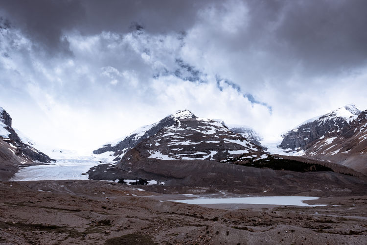 Athabasca Glacier Cold Temperature Snow Winter Cloud - Sky Sky Scenics - Nature Beauty In Nature Mountain Snowcapped Mountain Tranquility Tranquil Scene Environment Landscape Nature Day No People Non-urban Scene Mountain Range White Color Mountain Peak