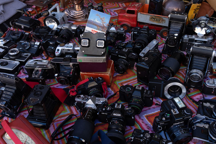 Abundance Backgrounds Camera - Photographic Equipment Choice Close-up Collection Consumerism Digital Camera Equipment For Sale Full Frame High Angle View Indoors  Large Group Of Objects Market Market Stall No People Photography Themes Retail  Still Life Technology Variation