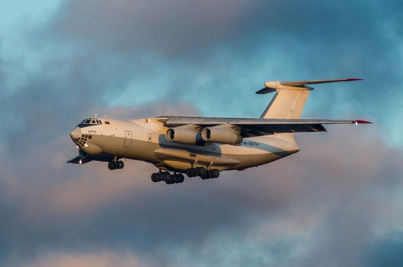 Flying Transportation Airplane Sky Speed Day Technology Plane Aerospace Industry Military Airplane Outdoors No People Jet Engine Travel Il-76 Landing Ilyushin Cargo Plane Rubystar
