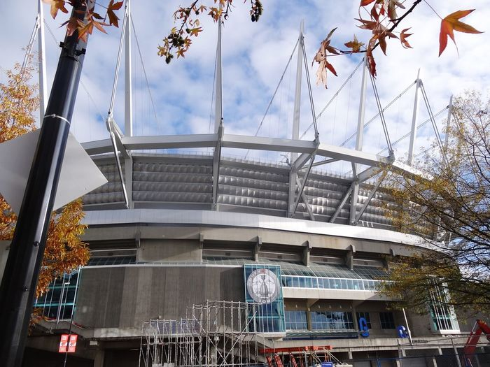 EyeEm Selects Architecture Building Exterior No People Sky City Outdoors Day Clear Sky Modern Built Structure Low Angle View Sports Venue Stadium at BC Place Vancouver British Columbia Canada Canada Coast To Coast