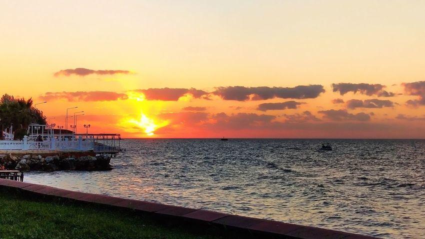 Yalovasahili Yalova Günbatımı Turkey Türkiye Water Sea Sunset Beach Horizon Summer Sun Silhouette Reflection Sky