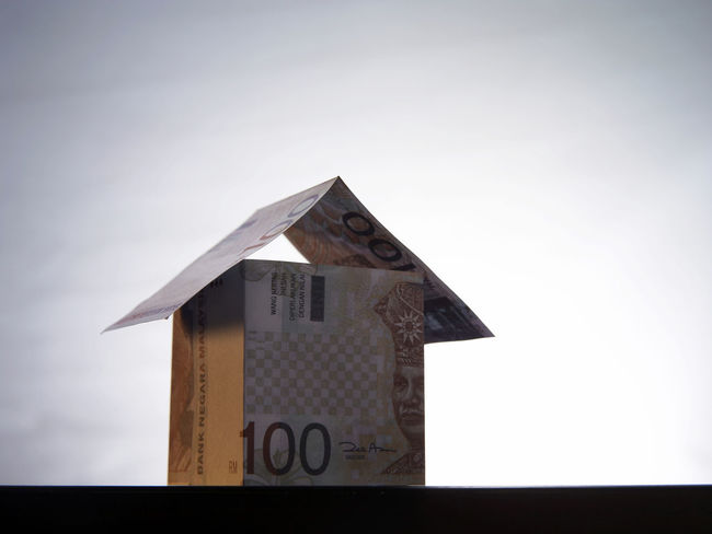 financial item cash Currency House Shape Architecture Built Structure Cash Dollar Expenses Finance House Investment Low Angle View Model House Money No People Number Property Real Estate Savings Wealth